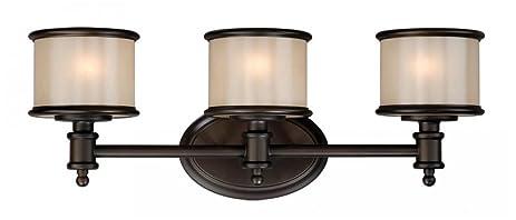 vaxcel usa crvlu003nb carlisle 3 light bathroom vanity lighting fixture in bronze glass - Bathroom Vanity Lights Bronze