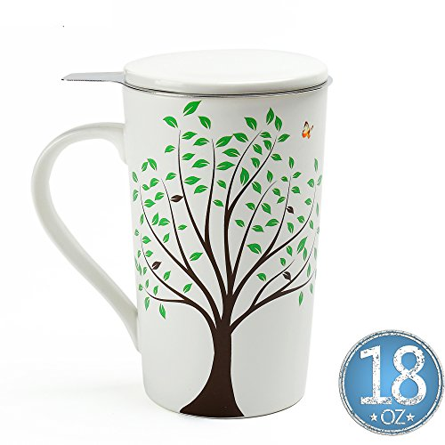 Ceramic Tea-Mug(18 oz) with Infuser and Lid, TEANAGOO-Jupiter, Travel Teaware with Filter 3D Green Tree, Tea Cup Steeper Maker, Brewing Strainer for Loose Leaf Tea,Diffuser mug set for Tea Lover Gift (And Large Extra Saucer Cup)