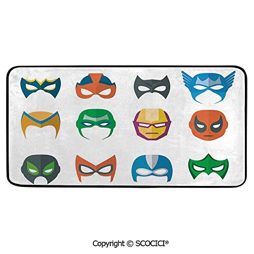 Rectangle Rugs for Bedside Fall Safety, Picnic, Art Project, Play Time, Crafts, Large Protective Mat, Thick Carpet,Superhero,Hero Mask Female Male Costume Power Justice People -