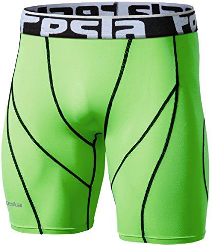 TSLA Mens Compression Shorts Baselayer Cool Dry Sports Tights, Zero(s17) - Neon Green, Medium