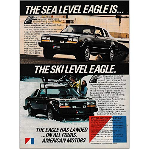 RelicPaper 1980 American Motors: Sea Level Eagle is The Ski Level Eagle, American Motors Print Ad