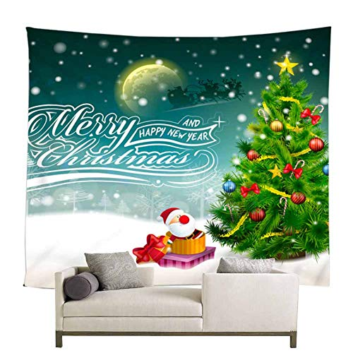 Christmas and New Year Scene Wall Tapestry Room Decor, Snow Fluttering in The Sky Elk Pulling Santa Run Passed The Moon White Snow Ground Christmas Party Scene Setter Wall Decoration(71