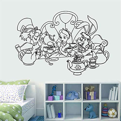 Alice In Wonderland Minecraft (Wall Vinyl Sticker Decals Mural Room Design Pattern Art Alice in Wonderland Cartoon Tea Time Mad Hatter)