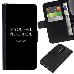 JackGot ( If You Fall ) LG G2 D800 la tarjeta de Crédito Slots PU Funda de cuero Monedero caso cubierta de piel