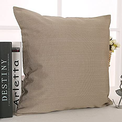 Deconovo Cushion Cover Decorative Throw Pillow Cover Striped Pillowcase with Invisible Zipper for Couch 18 x 18 Inch White and Blue No Pillow Insert