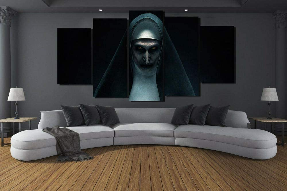 YDME Fall Decor for Home Decorations Hd Printed Canvas Painting Modern Wall Art Decor 5 Pieces Indoor Decorations The Nun Scary Horror -150X80cm
