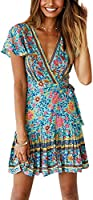 Temofon Women's Dresses Summer Wrap Bohemian Floral Printed Ruffle Hem Short Sleeve V-Neck Beach Mini Dress S-XL