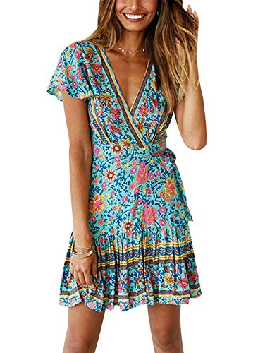 Butterfly Summer Dress - TEMOFON Women's Dresses Summer Bohemian Vintage Floral Printed Ruffle Hem Short Sleeve V-Neck Mini Dress Green S