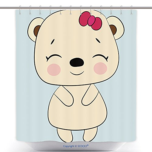 vanfan-Durable Shower Curtains Children S Illustration A Baby Girl Bear Best Choice Cards Invitations Printing Party Polyester Bathroom Shower Curtain Set Hooks(54 x 78 -