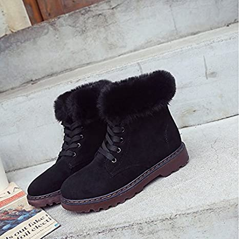 for Casual Khaki Green Black HSXZ Womens Shoes PU Winter Fall Comfort Boots Null Chunky Heel Round Toe Mid-Calf Boots