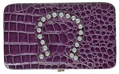 Ladies Flat Opera Wallet Lucky Horse Shoe Design Croco Wallet (Purple) - Flat Opera Wallet