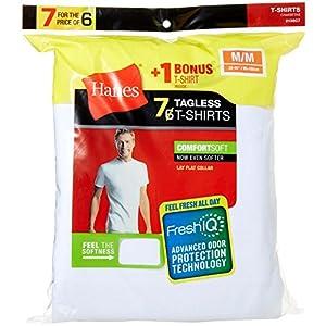 Hanes Men's FreshIQ ComfortSoft Crewneck T-Shirt (Bonus Pack), White, Meduim