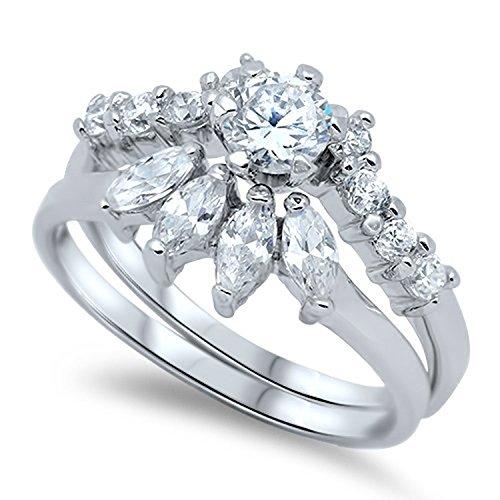 JewelryVolt Sterling Silver Ring - Wedding Ring Set (8)