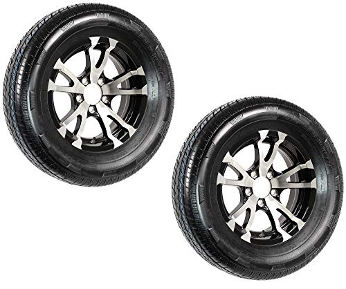 Tire Aluminum Rims - 2-Pack Radial Trailer Tire On Rim ST205/75R15 Load C 5 Lug Aluminum T07 Black