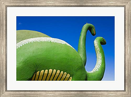 (Sculptures of Two Dinosaurs Outside a Rock Shop, Holbrook, Route 66, Arizona, USA Framed Art Print Wall Picture, Silver Scoop Frame, 34 x 25 inches)