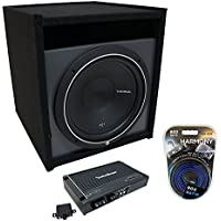 Universal Car Stereo Paintable Ported 10 Rockford Punch P1S210 Sub Box Enclosure & R250X1 Amp