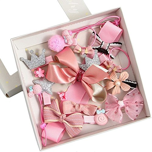 Aguder 18pcs Hair Clips Cute Bowknot Crown Hair Barrette Hairpin Headdress Bows Accessories for Photography Pops Costume Party Baby Girls Kids Toddler Birthday Gift (18pcs Pink)