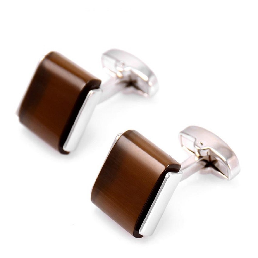 SHIYUAN Business Opal Stone French Cufflinks Mens Business Fashion Shirt Cuff Links