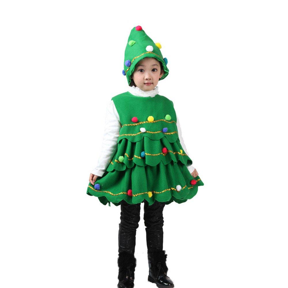 BANAA 2Pcs Abito Da Costume Natale Neonato Bambine Ragazzo Abiti Partito Gilet + Abiti Hat Vestito Alberi Di Natale Costume Carnevale Travestimento Eleganti Vestiti (90, verde)