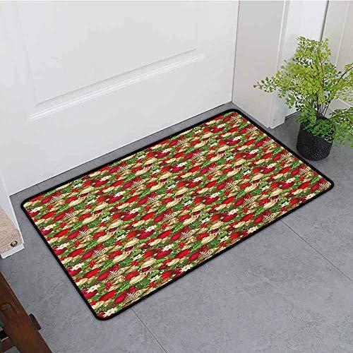 (Beihai1Sun Indoor Doormat,Christmas Tree Branches Balls Bells Cones Poinsettia Flowers Mistletoe Berry,Customize Door mats for Home Mat,31