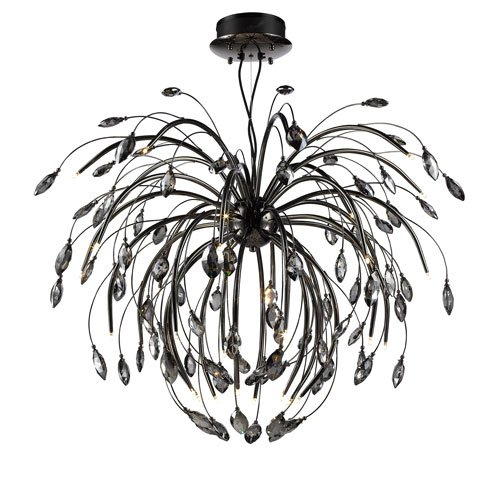 Graphite Finish Chandeliers (Golden Lighting C304-32-GP Palm - Thirty-Two Large Chandelier, Graphite Finish with Graphite Tinted Faceted)