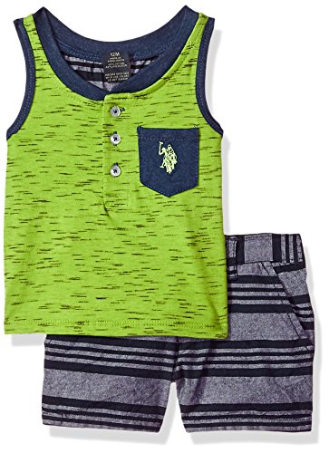 Stripe Henley Tank - U.S. Polo Assn. Baby Boys Tank and Short Set, Henley Green Tank Grey Stripes Multi Plaid, 18M