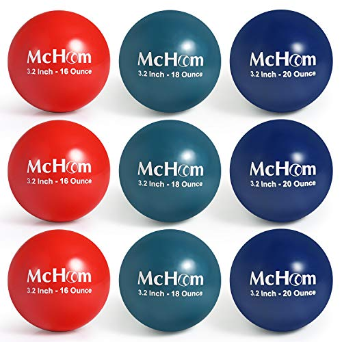 McHom 3.2in Weighted Baseball/Softball Training Balls for Hitting, Batting or Pitching Practice   9-Pack   Weights Include 16, 18 and 20 oz