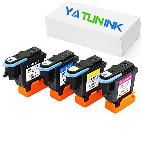 YATUNINK Remanufactured Print head Replacement for HP 11 Printhead 11 Printer Head C4810A C4811A C4812A C4813A Printhead (1 Black+1 Cyan+1 Magenta+1 Yellow , 4 Pack) ()