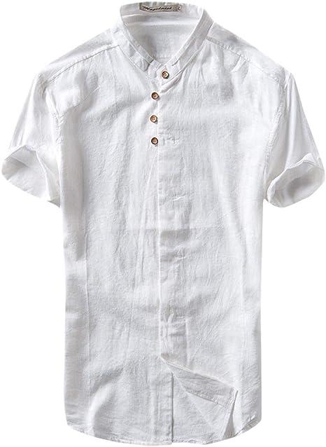 MOTOCO Hombre Henley Cuello Roll Up Sólido Manga Larga Lino Stand Collar Camisas(S, Blanco): Amazon.es: Ropa y accesorios