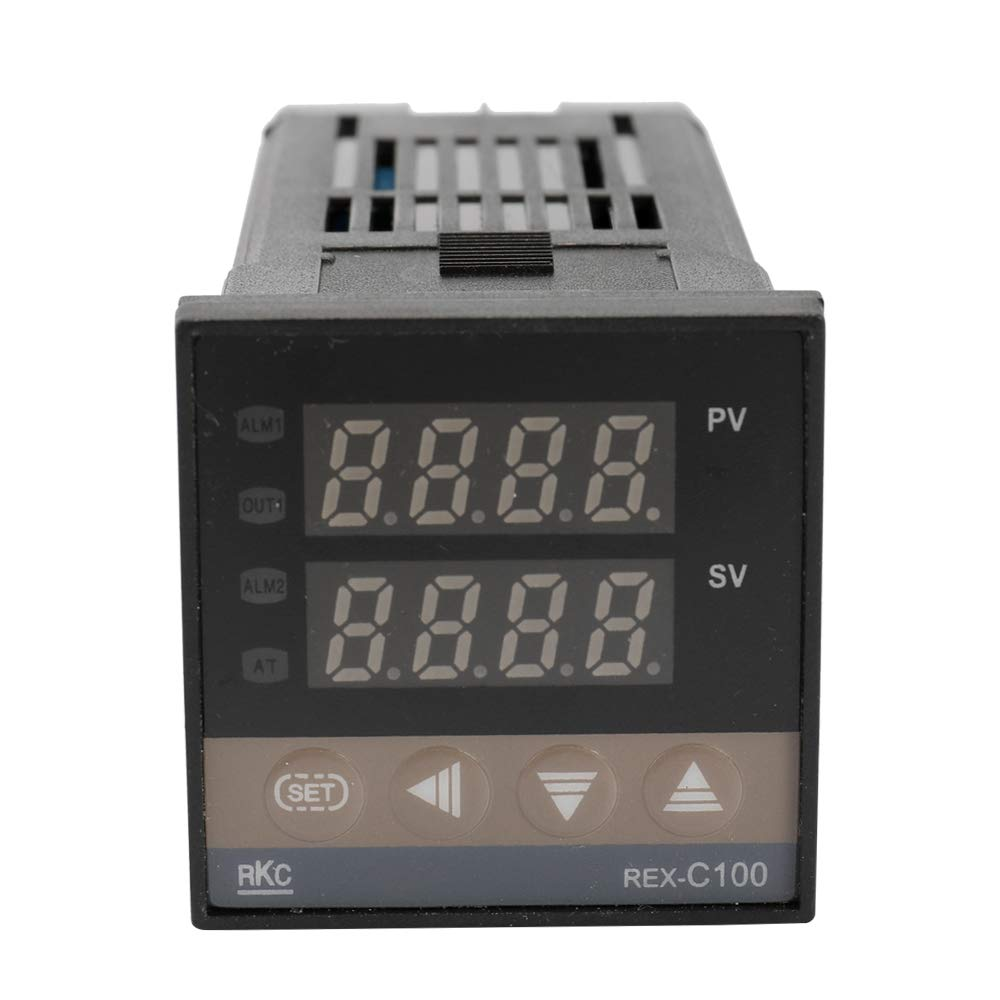 Fesjoy Dual Digital PID Temperature Controller Thermostat REX-C100 Thermocouple SSR-40DA Solid Relay Programmable Thermostats