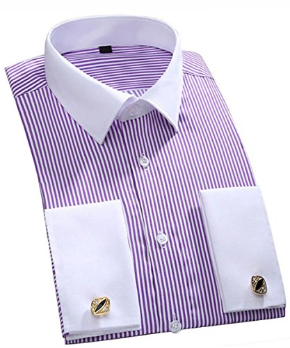 Stripe Cuff Shirt - Cloudstyle Men's Dress Shirt Slim Fit Button Down Stripe Checked Shirt Purple