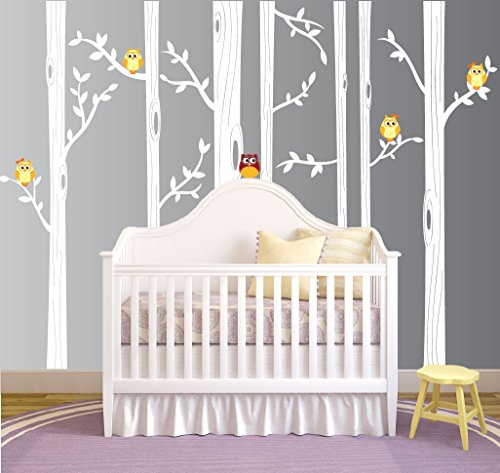 Nursery Birch Tree Wall Decal Set With Owl Birds Forest Vinyl Sticker, Birch Tree Wall Decal, Birch Tree Decal Baby Boy Whimsical Owls (7 trees) #1321 (84