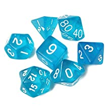 TR.OD Dragons Dungeons Dice Transparent Polyhedral Dice D4-D20 Blue