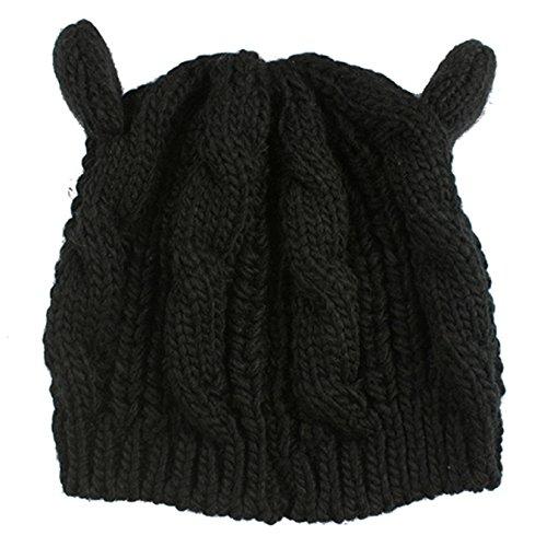 Heekpek® Gorro de Punto Gato Crochet Invierno Beanie Cozy Mujeres Sombrero  Mujer (Negro)  Amazon.es  Ropa y accesorios db74be66c64