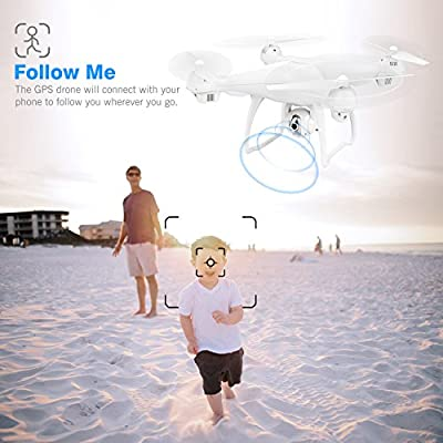 Potensic T35 GPS FPV RC Drone, 1080P Camera Live Video and GPS Return Home Quadcopter with WIFI Camera - Follow Me, Altitude Hold, 2500mAh Battery Long Control Range by Potensic
