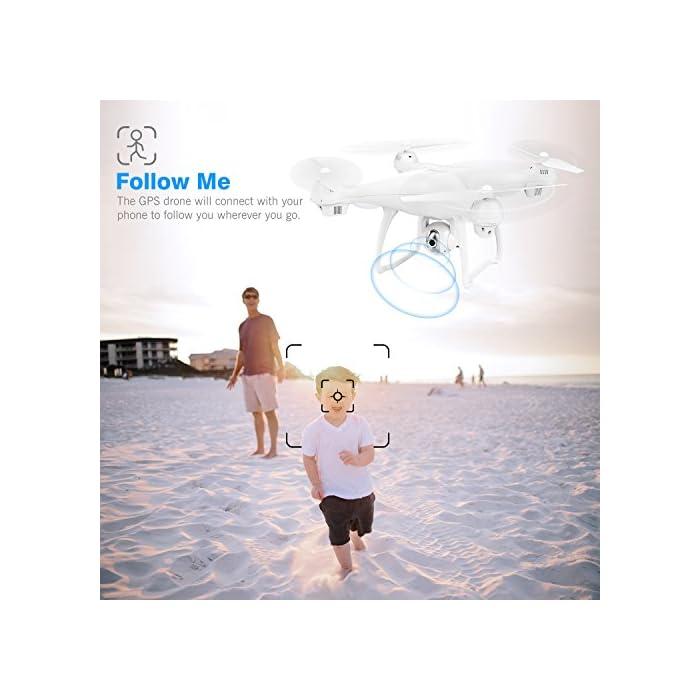 51hwKHOQm3L 【Vuelo Asistido por 2 Modos GPS】integrado GPS y GLONASS sistema de posicionamiento, le proporciona detalles de posicionamiento precisos de su Drone con camara HD. Construido en la función Return-to-Home (RTH) para un dron más seguro, el dron regresará automáticamente a su hogar precisamente cuando la batería está baja o la señal es débil cuando vuela fuera del alcance, sin preocuparse por perder el dron. 【Cámara Wi-Fi FPV 1080P 120 ° FOV Optimizada】drone camara angulo ajustable de 90 °, captura videos y fotos de alta calidad. Puede disfrutar de la visualización en tiempo real directamente desde su teléfono(Después de conectar wifi). Ideal para realizar selfie, capturando cada momento desde una perspectiva de pájaro. 【Modo Sígueme】el RC drone lo seguirá automáticamente y lo capturará donde sea que se mueva. Manteniéndolo en el marco en todo momento, más fácil de obtener tomas complejas, proporciona vuelo manos libres y autofoto. drone económico con GPS