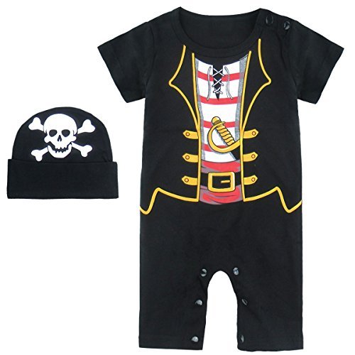 Mombebe Baby Boys' Pirate Halloween Costume Romper With Hat (6-12 Months, Pirate) -