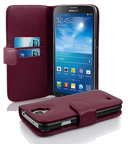 Cadorabo Case Works with Samsung Galaxy MEGA 6.3 in Pastel Purple (Design Book Structure) - with 2 Card Slots - Wallet Case Etui Cover Pouch PU Leather Flip