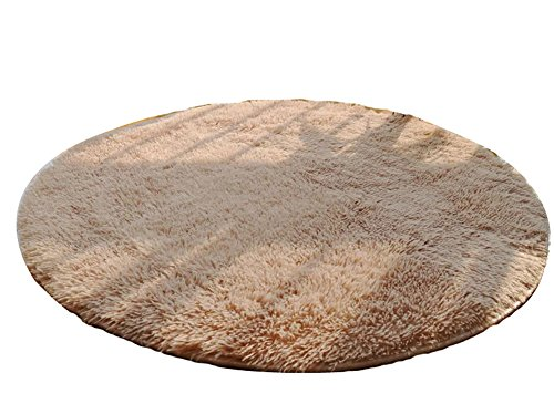 Nonabrasive Round Chair Mats Fuzzy Durable Chair Carpet 100100cm (Light Camel) by Panda Superstore