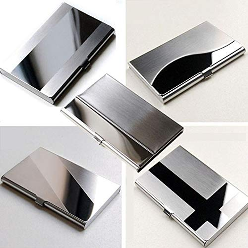 Pinleg Stainless Steel Silver Aluminium Business Wallet Credit Card ID Name Credit Card Holder Case Cover 5 Styles for Men & Women (E)