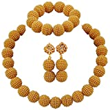aczuv Nigerian Wedding African Beads Jewelry Set Women Simulated Pearl Necklace and Earrings (Goldenrod)