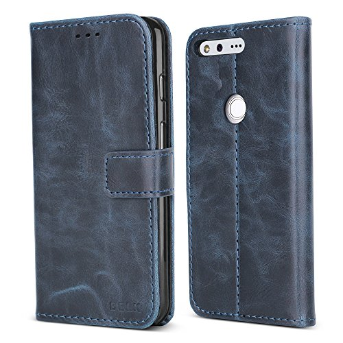 Google Pixel Case, BELK Premium Retro Slim Wallet Case, Vintage Leather Classical Folio Flip Cover with [Magnetic Snap] [TPU Stand Bumper] [3 Card Slots Holder] for Google Pixel (5 Inch), Retro Blue