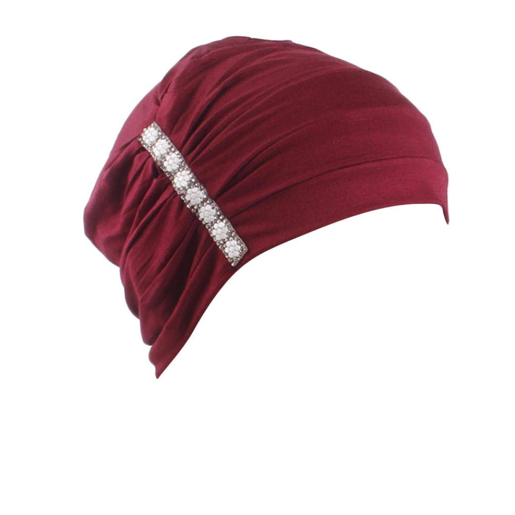 Suma-ma 6 Colors Women's Elegant Stretch - Hot Drilling Cap-Indian African Muslim Elastic Headband Cap