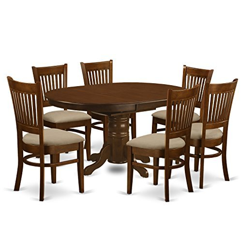 """7 Pc set Kenley with a 18"""" Leaf and 6 linen fabric Dinette Chairs"""