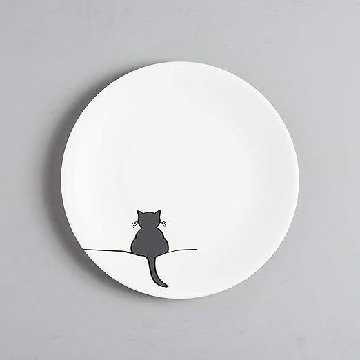 JIN Designs plato de porcelana con diseño de gato - 8 Inch ...