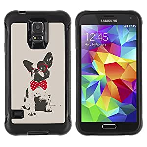 King Case@ Boston Terrier Pug Polka Dot Red Grey Rugged hybrid Protection Impact Case Cover For S5 Case , G9006 Cover Case ,Leather for S5 ,S5 Cover Leather Case ,G9006 Leather Case
