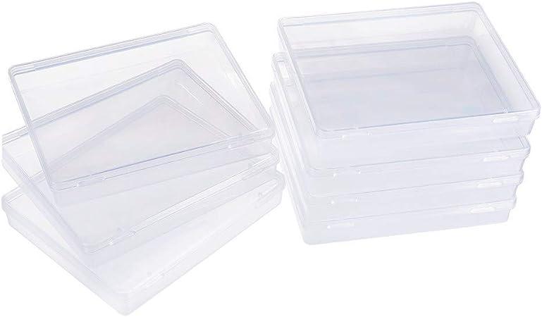 BENECREAT 8 Pack Caja de Contenedores de Almacenamiento de Plástico Transparente con Tapas Abatibles para Pastillas Hierbas Cuentas Pequeñas Tarjetas: Amazon.es: Hogar
