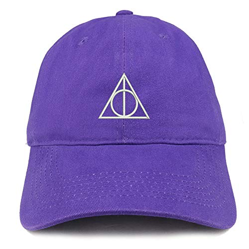 Trendy Apparel Shop Deathly Hallows Magic Logo Embroidered Soft Crown 100% Brushed Cotton Cap - Purple