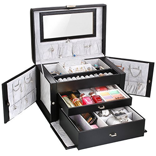 MVPOWER Jewelry Box Faux Leather Travel Case, Jewelry Display Organizer with Lock and Mirror for Gift, (Leather Travel Jewelry)
