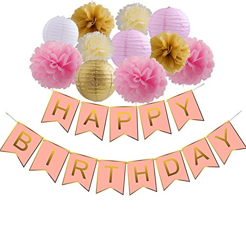 Happy Birthday Decorations Pink And Gold Banner With Paper Flowers Pom Poms For Flamingo Party Supplies